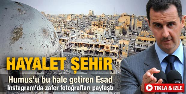Esad Humus şehrini yok etti - izle
