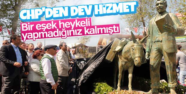 CHP'li belediye eşek heykeli açtı