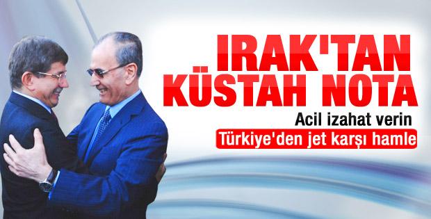 Irak'tan Türkiye'ye resmi Davutoğlu notası