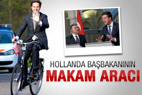 Hollanda başbakanı görüşmeye bisikletle geldi