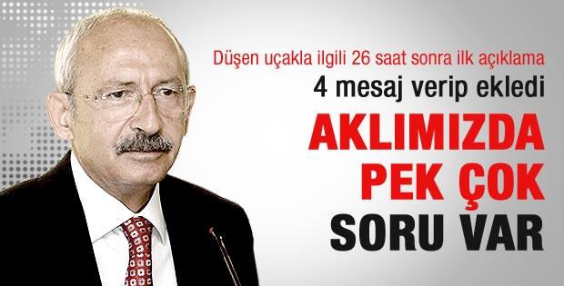 Kılıçdaroğlu'ndan düşürülen uçak açıklaması