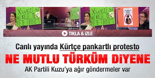 Pelin Batu'dan Kürtçe pankartlı protesto - izle