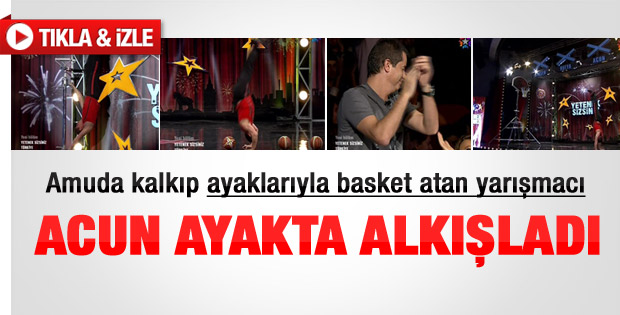 Amuda kalkıp basket atan yarışmacı - Video