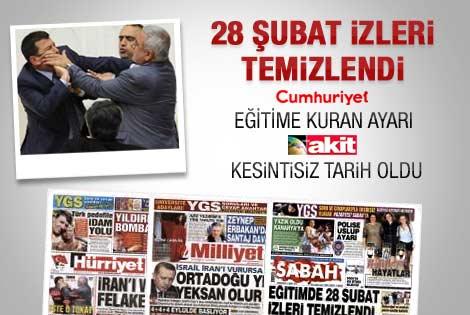 Eğitim reformu  yasası gazete manşetlerinde
