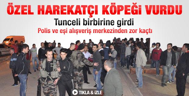 Tunceli'de polis köpeği vurdu ortalık karıştı