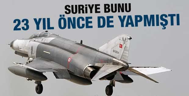 Suriye 23 yıl önce de Türk uçağını vurmuştu