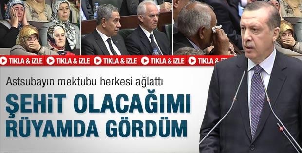 Erdoğan'ın okuduğu şehit mektubu ağlattı