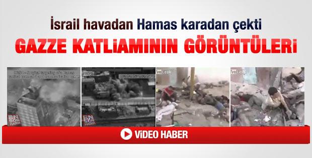 Gazze'de 13 kişinin öldüğü saldırının görüntüleri