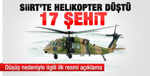 Siirt'teki askeri helikopter neden düştü