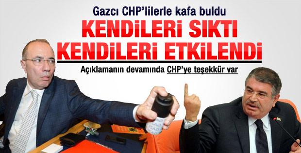 Şahin gaz sıkan CHP'lilerle kafa buldu