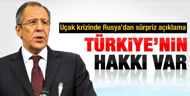 Rusya: Türkiye'nin uçağı indirme hakkı var