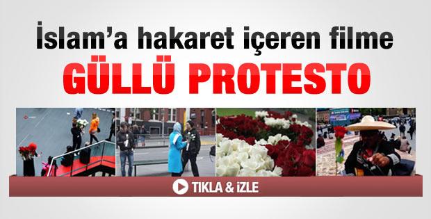 İslam'a hakaret içeren filme güllü protesto