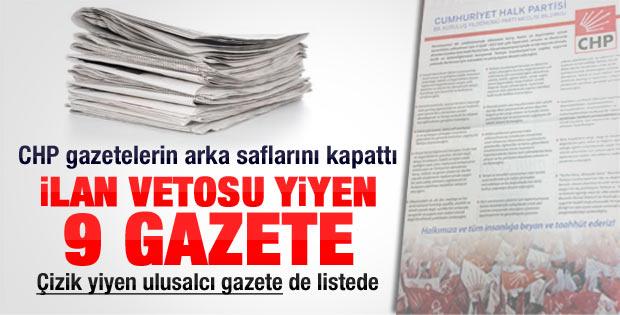 CHP gazetelerin arka sayfalarını kapattı