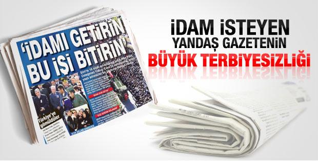 Sabah gazetesinin tepki çeken idam manşeti