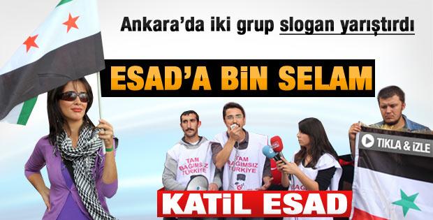 Ankara'da Esad yanlıları ve karşıtlarının slogan yarışı