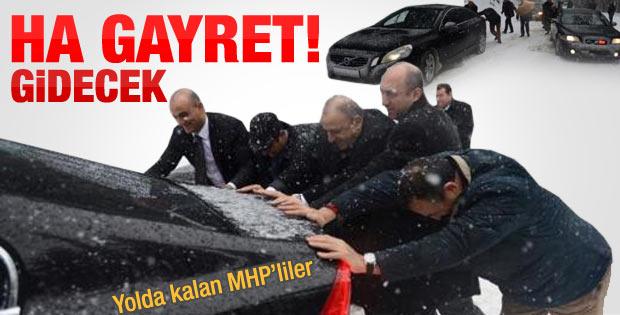 MHP'li vekillerin araçları yolda kaldı