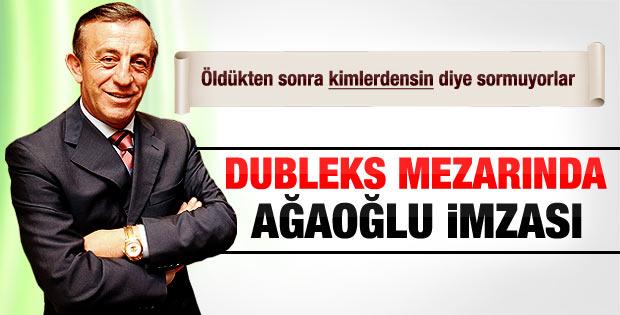 Ali Ağaoğlu dubleks mezarlığına şirket logosunu yazdırdı