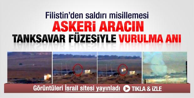İsrail askeri aracının tanksavar füzesiyle vurulma anı