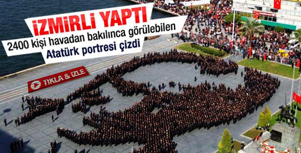 İzmir'de 2 bin 400 kişi Atatürk portresi için buluştu