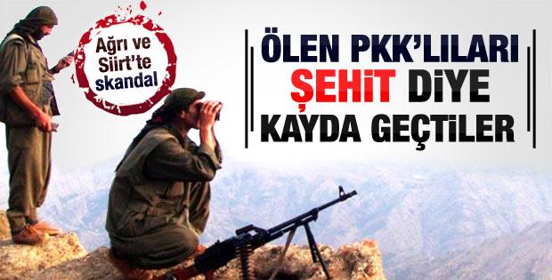 Öldürülen PKK'lıları şehit diye kayda geçirdiler