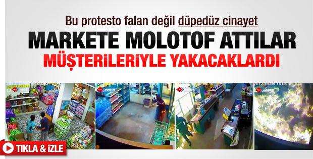 Mersin'de marketi müşterileriyle yakacaklardı
