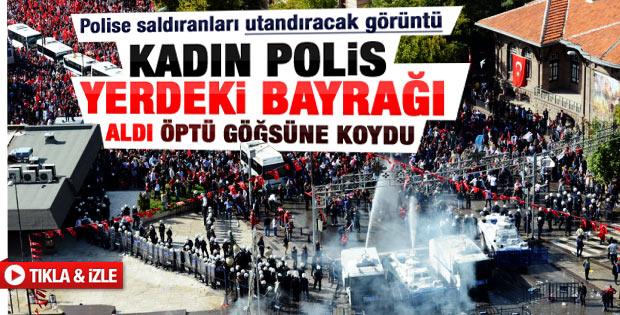 Kadın çevik Türk bayrağını yerden alıp öptü