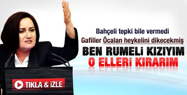 Akşener: Öcalan'ın heykelini dikenin ellerini kırarız