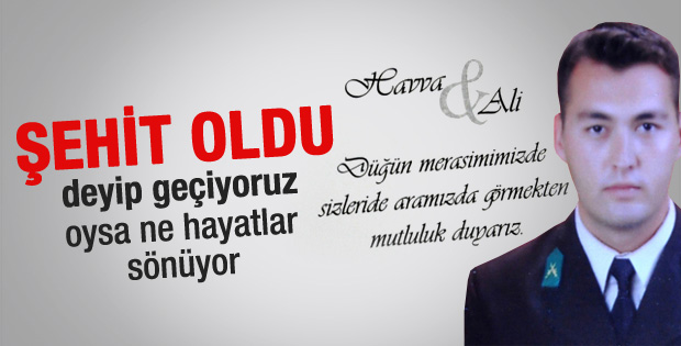 Şehit Astsubay Ali Gümüş'ün düğün davetiyesi