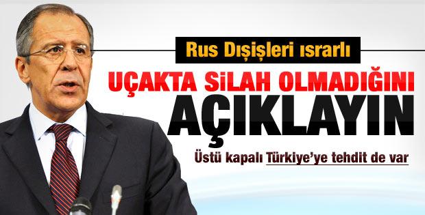 Rusya'dan Türkiye'ye: Uçakta silah olmadığını açıklayın