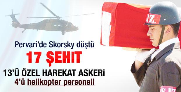 Siirt'te helikopter düştü 17 asker şehit