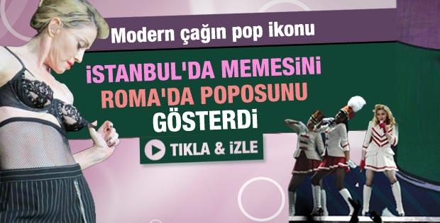 Madonna Roma konserinde poposunu gösterdi - Video