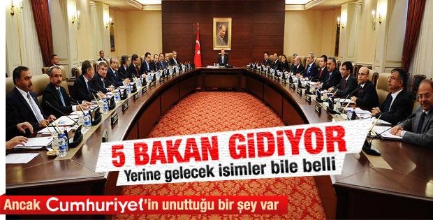 Erdoğan kabinede 5 bakanı değiştirecek iddiası