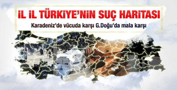 Türkiye'nin suç haritası çıkarıldı