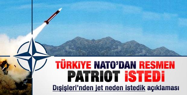 Türkiye NATO'ya patriot için başvurdu