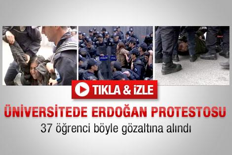 İçeride Erdoğan konuştu dışarıda gözaltı vardı