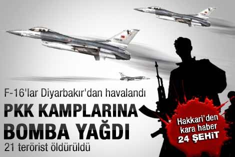 Savaş uçakları PKK kamplarını bombalıyor