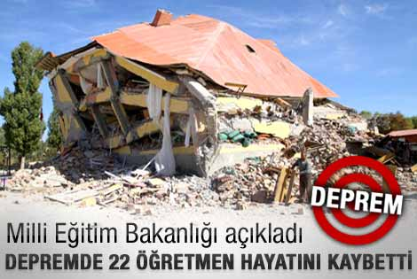 MEB: Van'da 22 öğretmen hayatını kaybetti