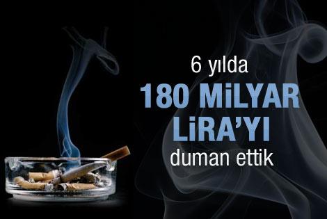 Sigaraya 6 yılda 180 milyar lira harcadık