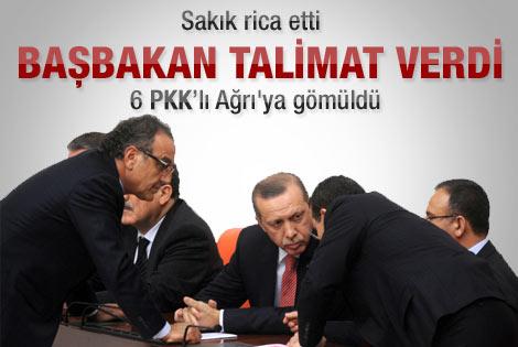 Sakık'ın Başbakan'dan yardım istediği 6 PKK'lı gömüldü