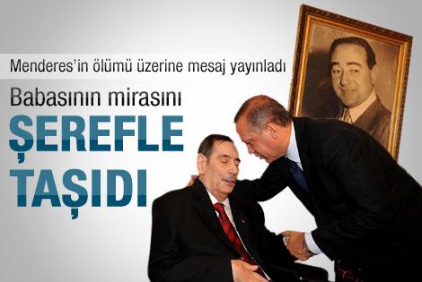 Başbakan Erdoğan'dan Aydın Menderes mesajı