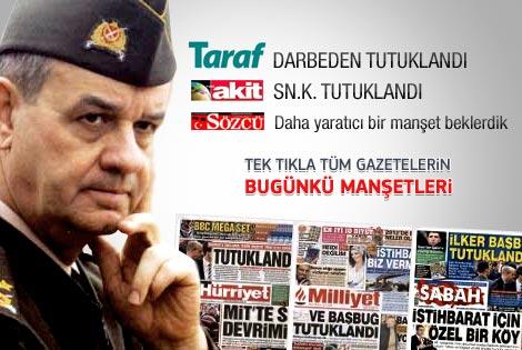 06 Ocak 2012 günün gazete manşetleri