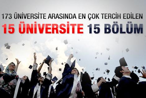 En çok tercih edilen üniversiteler ve bölümler