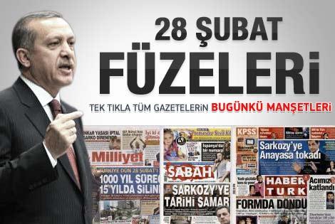 29 Şubat 2012 günün gazete manşetleri