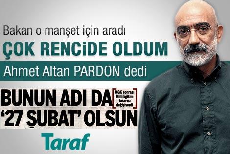Ömer Dinçer'den Altan'a manşet tepkisi