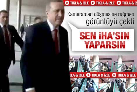 Kameramanın azmi Erdoğan'ı güldürdü - Video