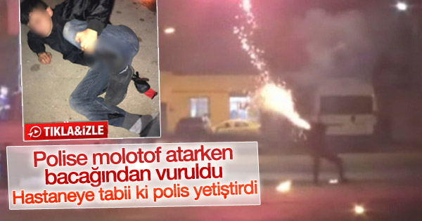 Polise molotof atarken vuruldu