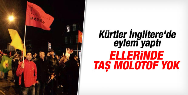 İngiltere'de taşsız molotofsuz Kobani eylemi
