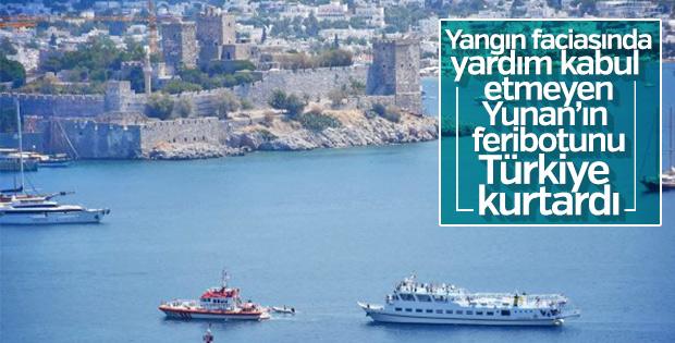 Arızalanan Yunan feribotunu Türkiye kurtardı