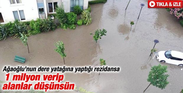 Ağaoğlu'nun Ümraniye'de yaptırdığı siteyi su bastı