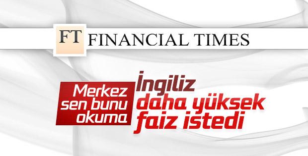 İngilizler Türkiye'de yüksek faizden yana